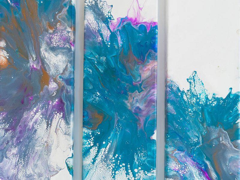 blue tryptich 12x12