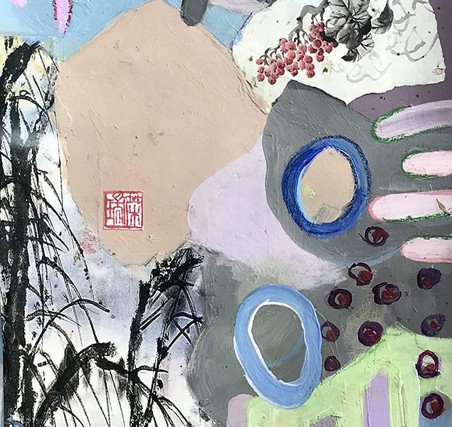 eastern influence........collage and acrylic on paper......13 x 16.....framed